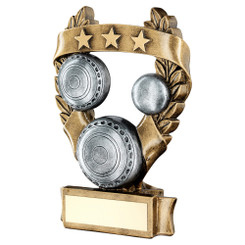 Brz/Pew/Gold Lawn Bowls 3 Star Wreath Award Trophy - 7.5In