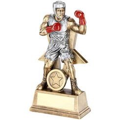 Brz/Pew/Red Male Boxing Figure With Star Backing Trophy (1In Centre) - 7In