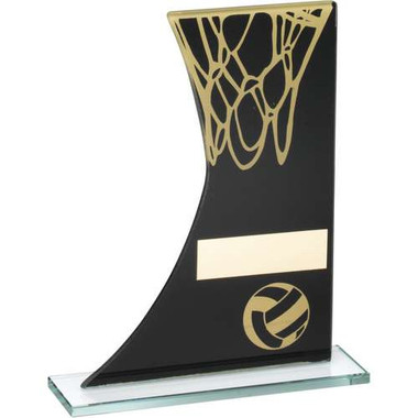 Black/Gold Printed Glass Plaque With Netball And Net Trophy - 8In