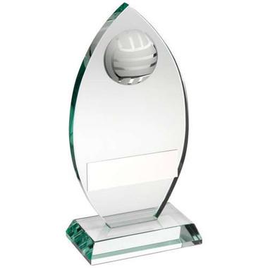 Jade Glass Plaque With Half Netball Trophy - 5.75In