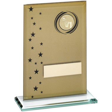 Gold/Black Printed Glass Rectangle With Netball Insert Trophy - 7.5In
