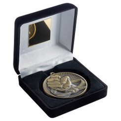 Black Velvet Box And 60Mm Medal Martial Arts Trophy - Antique Gold - 4In