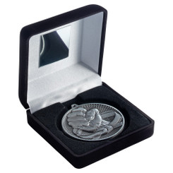 Black Velvet Box And 60Mm Medal Martial Arts Trophy - Antique Silver - 4In