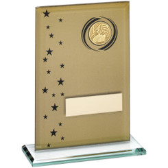 Gold/Black Printed Glass Rectangle With Gaelic Football Insert Trophy - 6In