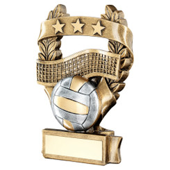 Brz/Pew/Gold Volleyball 3 Star Wreath Award Trophy - 6.25In