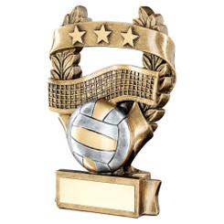 Brz/Pew/Gold Volleyball 3 Star Wreath Award Trophy - 7.5In
