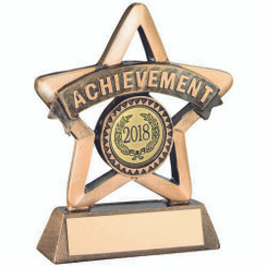 Brz/Gold Resin 'Achievement' Mini Star Trophy - (1In Centre) 3.75In