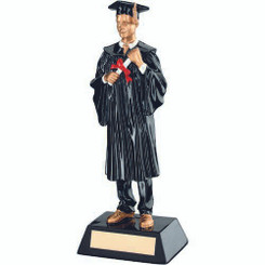 Blk/Gold Resin Male Graduate Trophy - 9.25In
