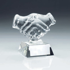 Clear Glass 'Handshake' Trophy - 4.25In