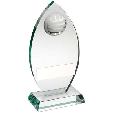 Jade Glass Plaque With Half Volleyball Trophy - 8.5In