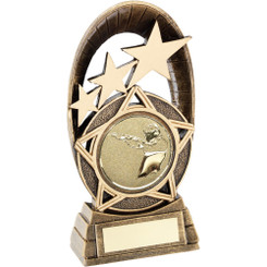 Brz/Gold Generic Tri-Star Oval With Shooting Insert Trophy - 6.5In