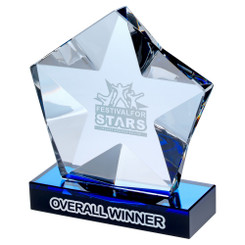 Clear Glass Pentagon Plaque With Star Detail On Black/Blue Base - 5.75In