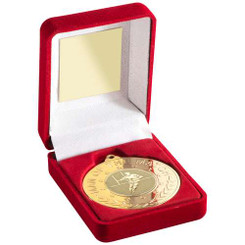 Red Velvet Box And 50Mm Medal With Rugby Insert 'M.O.T.M' Trophy - Gold - 3.5In