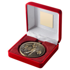 Red Velvet Box And 60Mm Medal Golf Trophy - Antique Gold - 4In