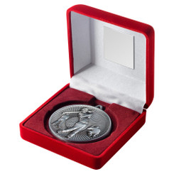 Red Velvet Box And 60Mm Medal Golf Trophy - Antique Silver - 4In