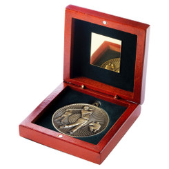 Rosewood Box And 60Mm Medal Golf Trophy - Antique Gold - 4.25In