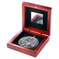 Rosewood Box And 60Mm Medal Golf Trophy - Antique Silver - 4.25In