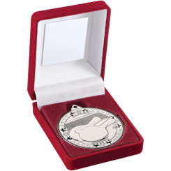 Red Velvet Box And 50Mm Medal Table Tennis Trophy - Silver - 3.5In