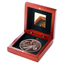 Rosewood Box And 60Mm Medal Golf Trophy - Bronze - 4.25In