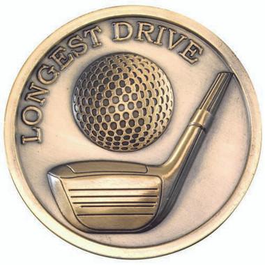 Golf Medallion - Antique Gold Longest Drive  2.75In