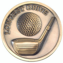 Golf Medallion - Antique Gold Longest Drive  2.75In