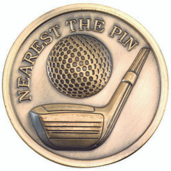 Golf Medallion - Antique Gold Nearest The Pin 2.75In
