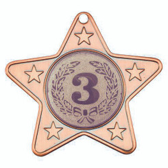 Star Shaped Medal With 5 Mini Stars (1In Centre) - Bronze 2In
