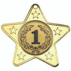 Star Shaped Medal With 5 Mini Stars (1In Centre) - Gold 2In