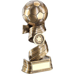 Brz/Gold Football On Swirled Ribbon Trophy - (1In Centre) 7.75In