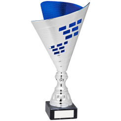 Silver/Blue Plastic Elegance Trophy - 13.75In