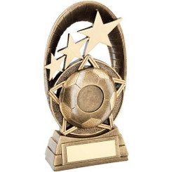Brz/Gold Football Tri Star Oval Plaque Trophy - (1In Centre) 5.5In