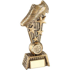 BRZ/GOLD FEMALE FOOTBALLER ON STAR COLUMN TROPHY - (1in CENTRE) 8.75in