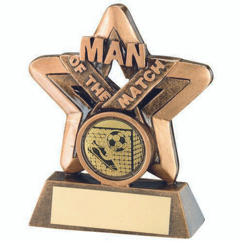 Gold Resin Rugby Mini Star Trophy 3.75in  FREE Engraving Bronze