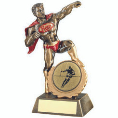 Brz/Gold/Red Resin Generic 'Hero' Award With Rugby Insert - 7.25In