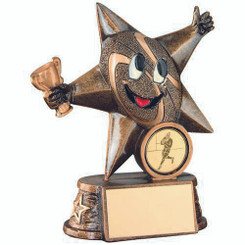 Brz/Gold Resin Rugby 'Comic Star' Figure Trophy - (1In Centre) 5In