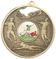 70mm Men's Football Medal - Gold