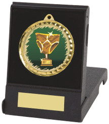 Gold Football Medal in Case with Choice of Image - Gold