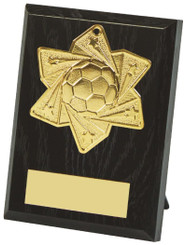 10cm Football Medal Plaque - Gold