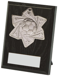 10cm Football Medal Plaque - Silver