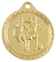 32mm Mens Football Medal - Gold