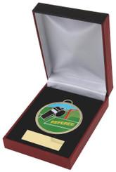 Enamel Football Referee Medal in Case - 60mm