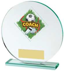 "Jade Glass Football Coach Award - 15cm (6"")"