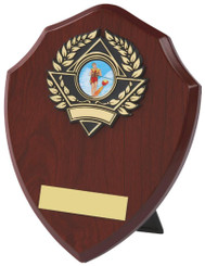 "Wood Effect Shield Trophy - TW18-116-157AP - 18cm (7"")"