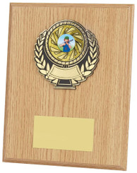"Light Wood Effect Plaque Award - TW18-115-303FP - 10cm (4"")"