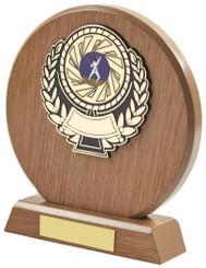 "Light Wood Circle Sports Award - TW18-116-631BP - 16cm (6 1/4"")"