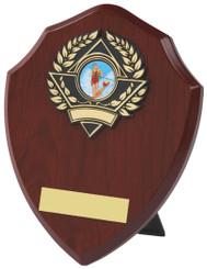 "Wood Effect Shield Trophy - TW18-116-157DP - 10cm (4"")"