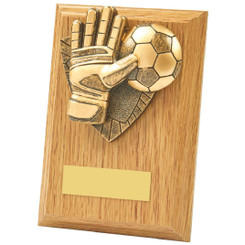 Light Oak Football Goalie Wood Plaque Award - 13cm