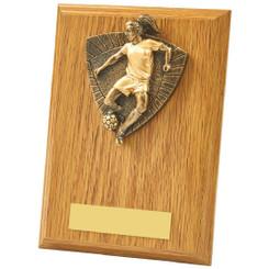 Light Oak Female Footballer Wood Plaque Trophy - 15cm