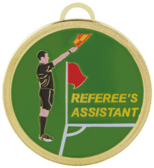 Colour Enamelled Football Referee's Assistant Medal - 60mm