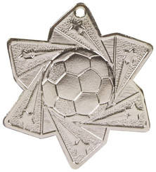 Football Star Medal (60mm) - Silver